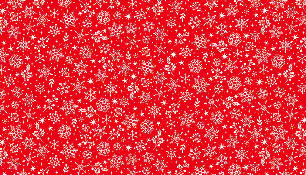MAKOWER Scandi - Snowflake – Red, per cm or $20/m