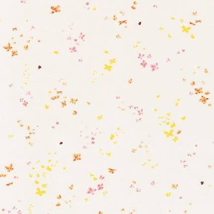 ROBERT KAUFMAN A Little Rain, Butterflies Peach / Gold on Natural, /cm or $20/m