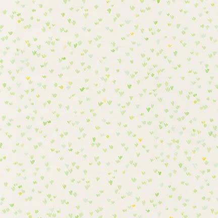 ROBERT KAUFMAN A Little Rain, Meadow Hearts Lime on Natural, /cm or $20/m