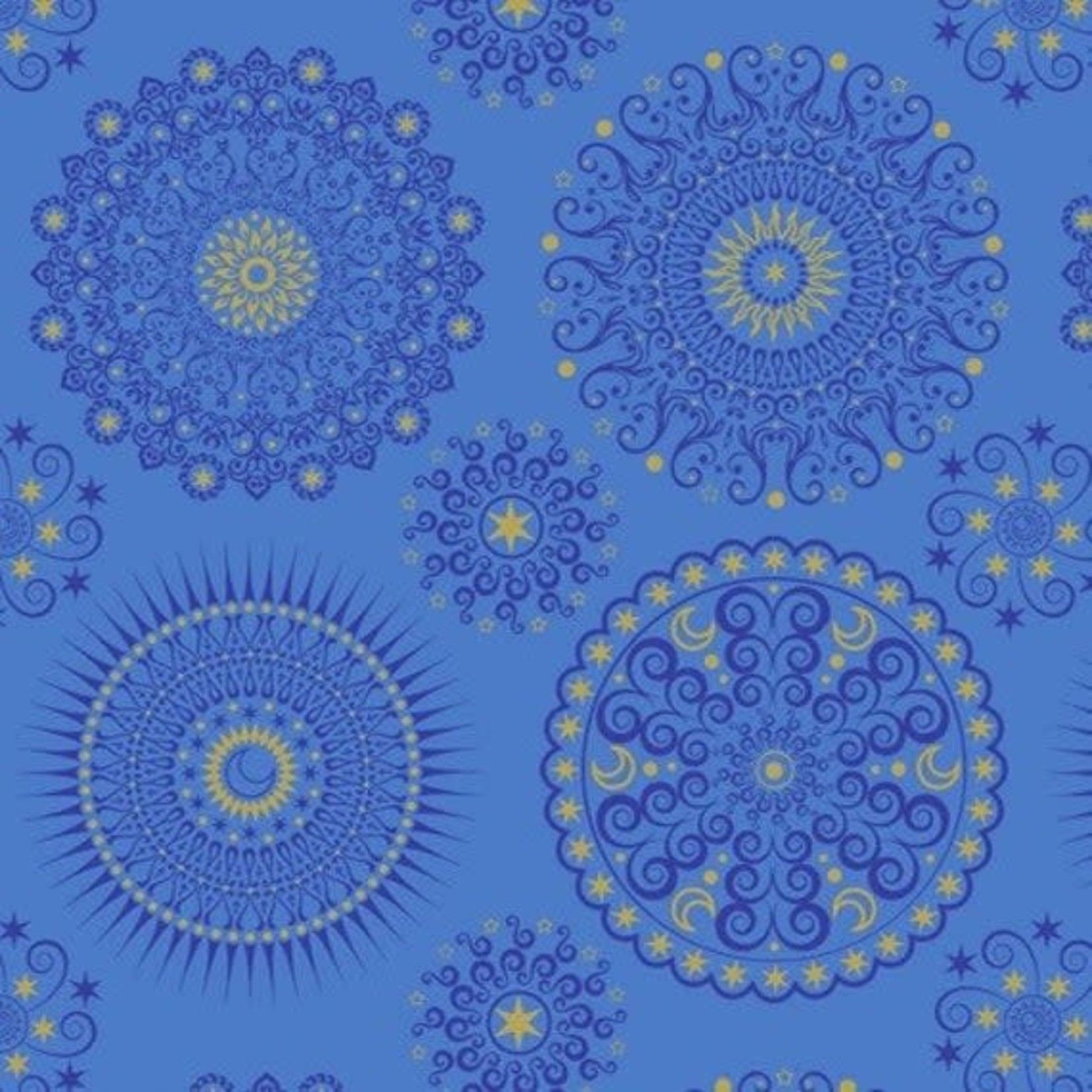 Blank Quilting Corp PRE-CUT BACKING 350cm. Celestial Sol - Mandalas, Blue PER CM OR $10/M