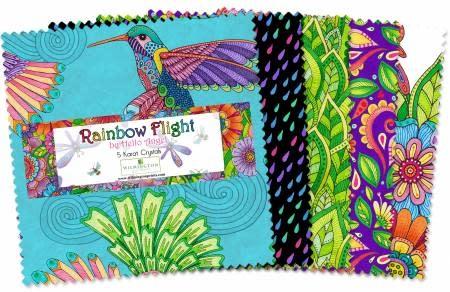 WILMINGTON PRINTS RAINBOW FLIGHT 5 KARAT CRYSTALS 42 Pieces