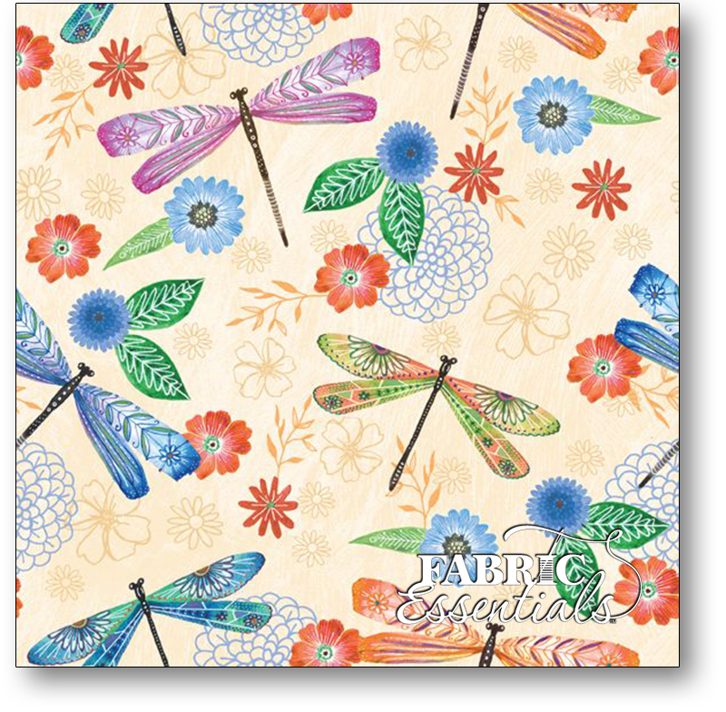 WILMINGTON PRINTS Floral Flight Dragonflies, CREAM /cm or $20/m 11153