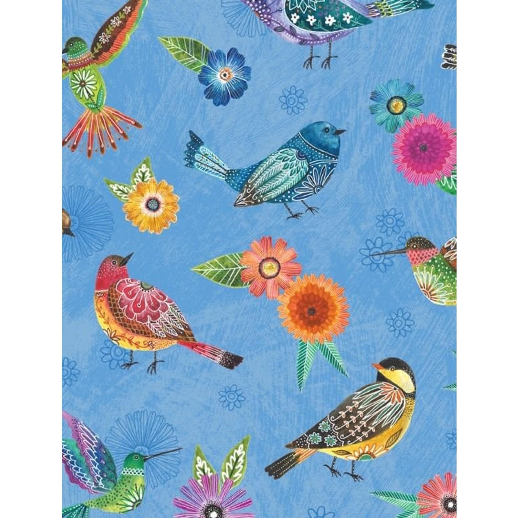 WILMINGTON PRINTS PRE-CUT BACKING 500CM. Floral Flight Embroidery Birds, BLUE /cm or $20/m