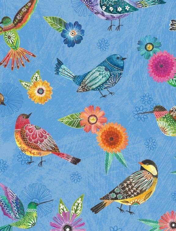 WILMINGTON PRINTS Floral Flight Embroidery Birds, BLUE /cm or $20/m