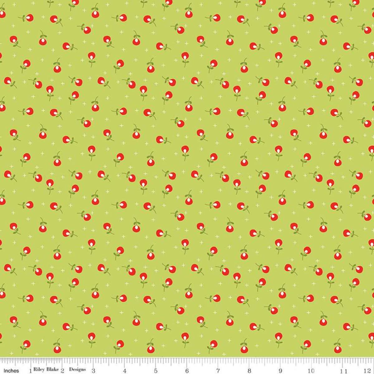 RILEY BLAKE DESIGNS MERRY LITTLE CHRISTMAS, BERRIES, GREEN $0.20 /CM OR $20/M