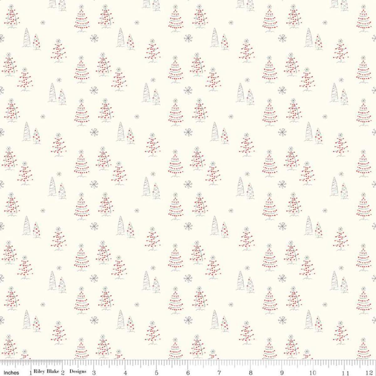 RILEY BLAKE DESIGNS MERRY LITTLE CHRISTMAS, TREES, CREAM $0.20 /CM OR $20/M