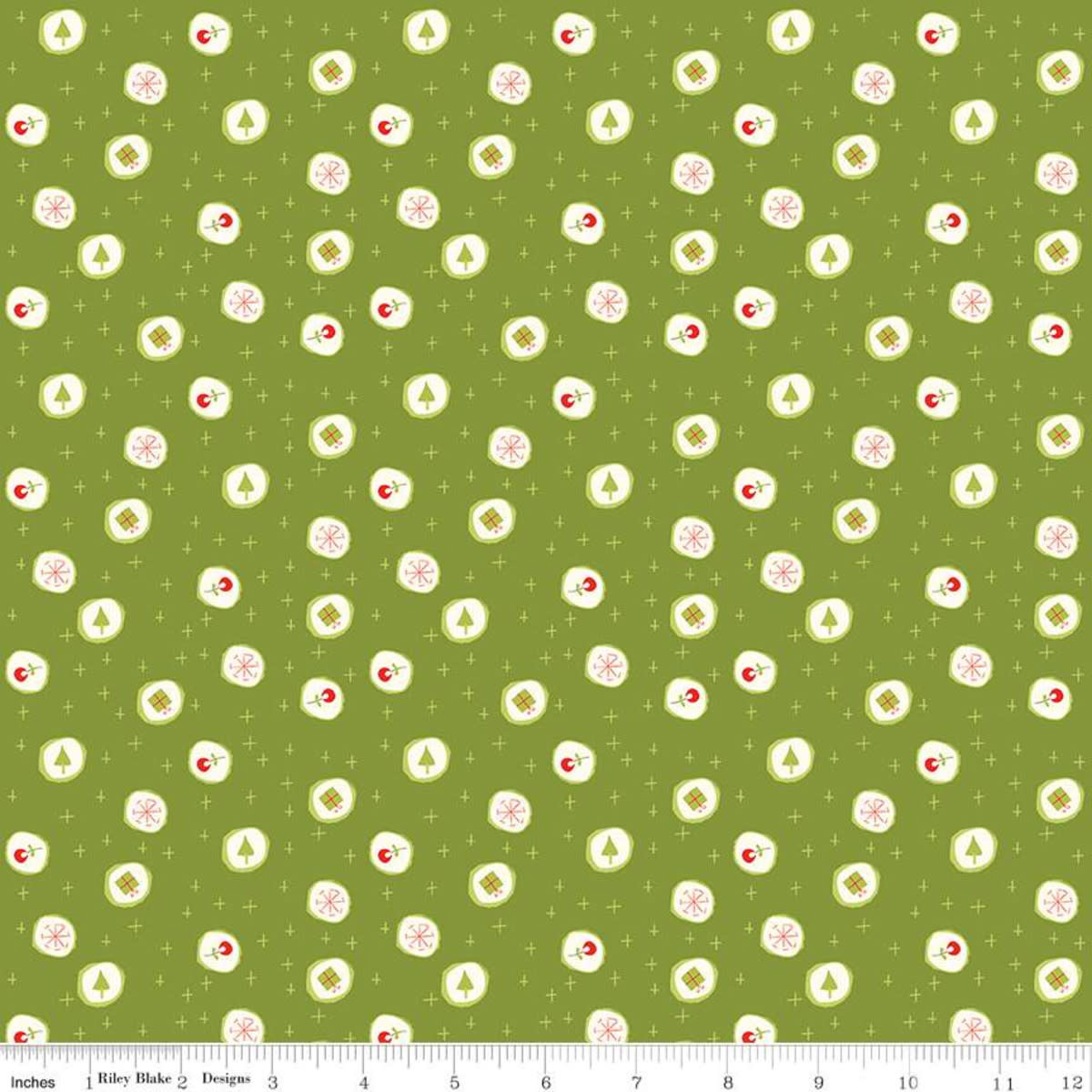 RILEY BLAKE DESIGNS MERRY LITTLE CHRISTMAS, CANDY, GREEN $0.20 /CM OR $20/M
