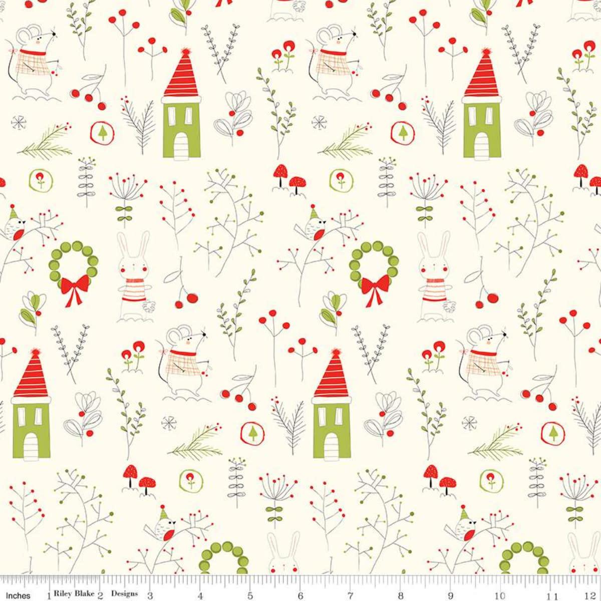 RILEY BLAKE DESIGNS MERRY LITTLE CHRISTMAS, MAIN, CREAM $0.20 /CM OR $20/M