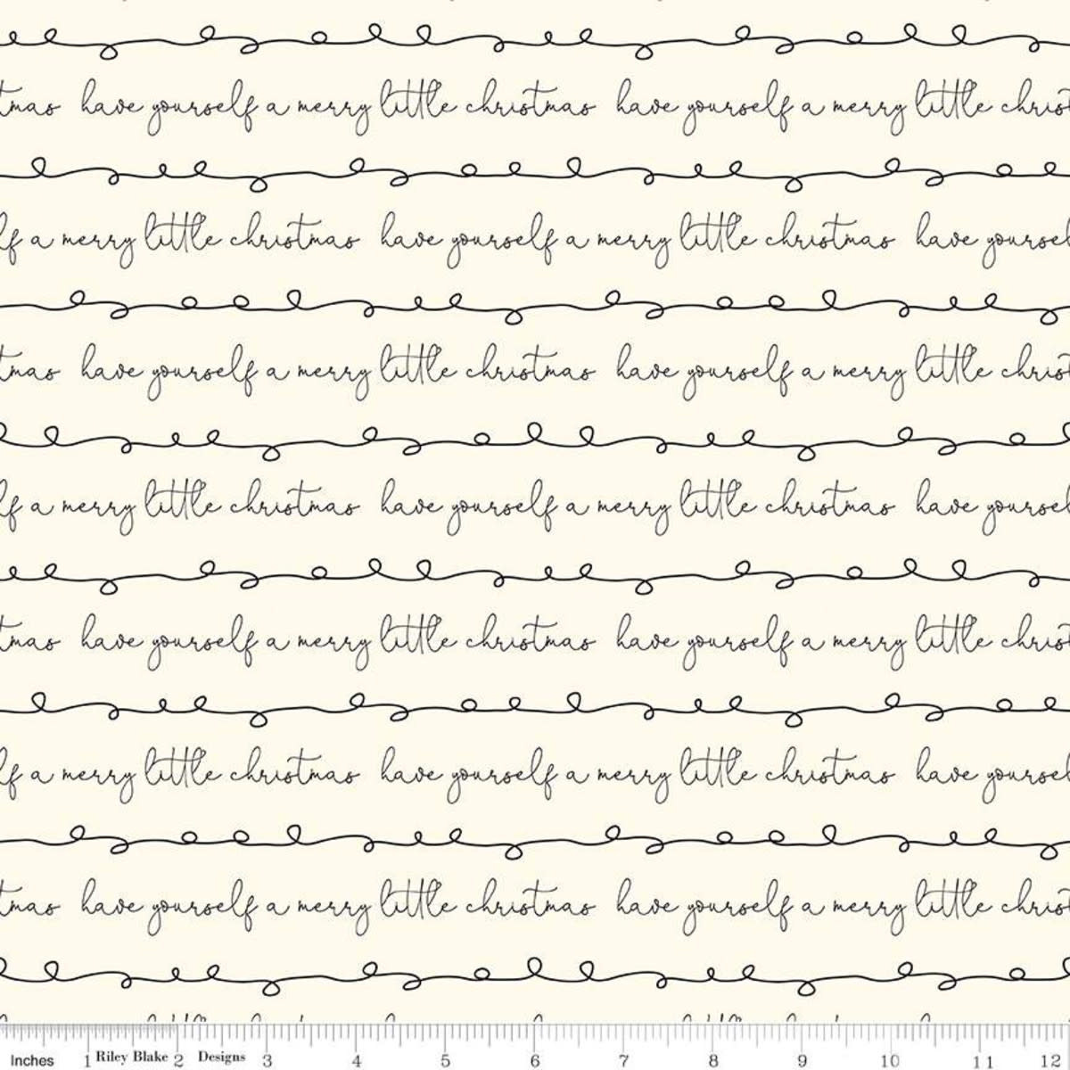 RILEY BLAKE DESIGNS MERRY LITTLE CHRISTMAS, WRITING, CREAM $0.20 /CM OR $20/M