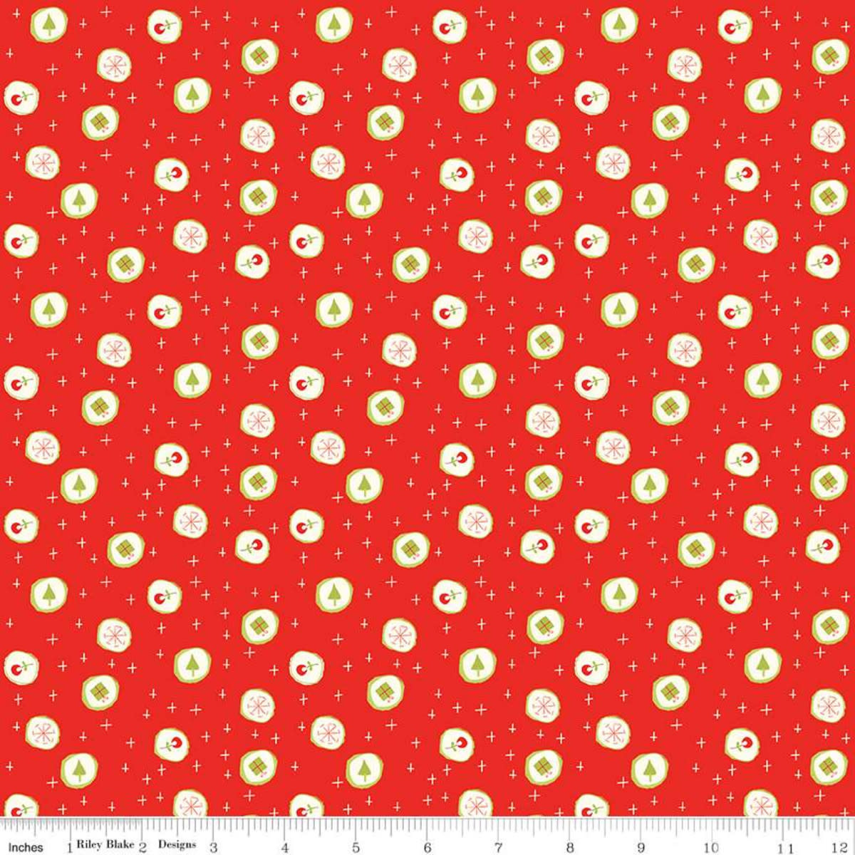 RILEY BLAKE DESIGNS MERRY LITTLE CHRISTMAS, CANDY, RED $0.20 /CM OR $20/M