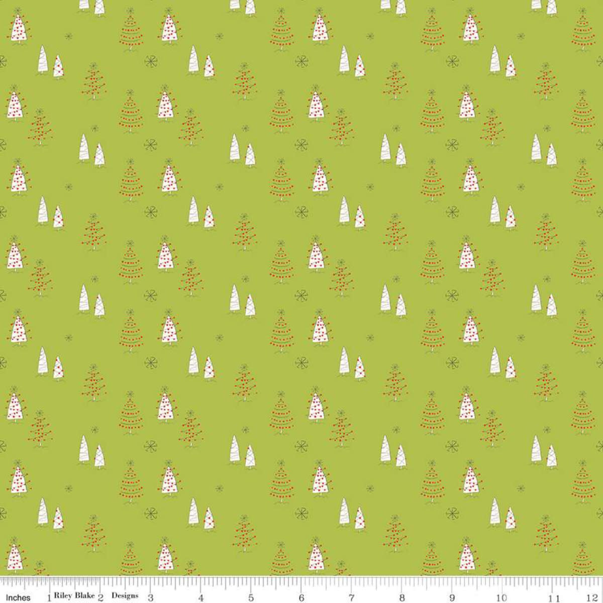 RILEY BLAKE DESIGNS MERRY LITTLE CHRISTMAS, TREES, GREEN $0.20 /CM OR $20/M