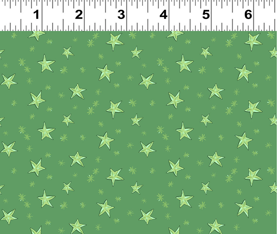 Clothworks Just What I Wanted, Stars on Green per CM or $20/M