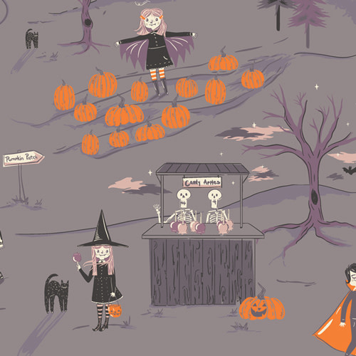 ART GALLERY SPOOKY N SWEET, PEPPERMINT'S TALE, NIGHTFALL (GREY) $0.20/cm or $20/m Halloween