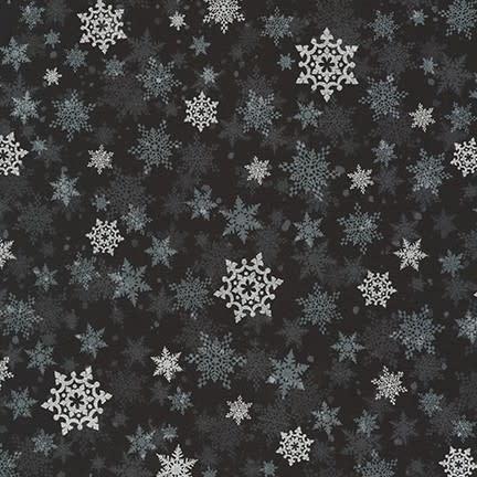 ROBERT KAUFMAN WINTER'S GRANDEUR 8, SNOWFLAKES, EBONY $0.20 /CM OR $20/M