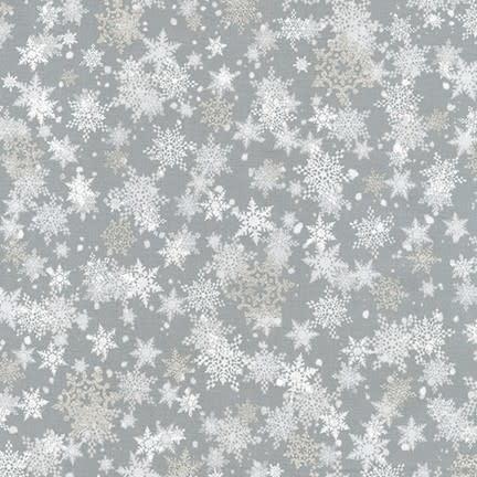 ROBERT KAUFMAN WINTER'S GRANDEUR 8, SNOWFLAKES, SILVER $0.20 /CM OR $20/M