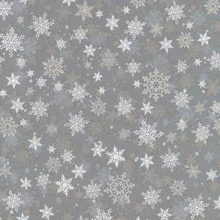 ROBERT KAUFMAN WINTER'S GRANDEUR 8, WINTER SNOWFLAKES, GREY $0.20 /CM OR $20/M