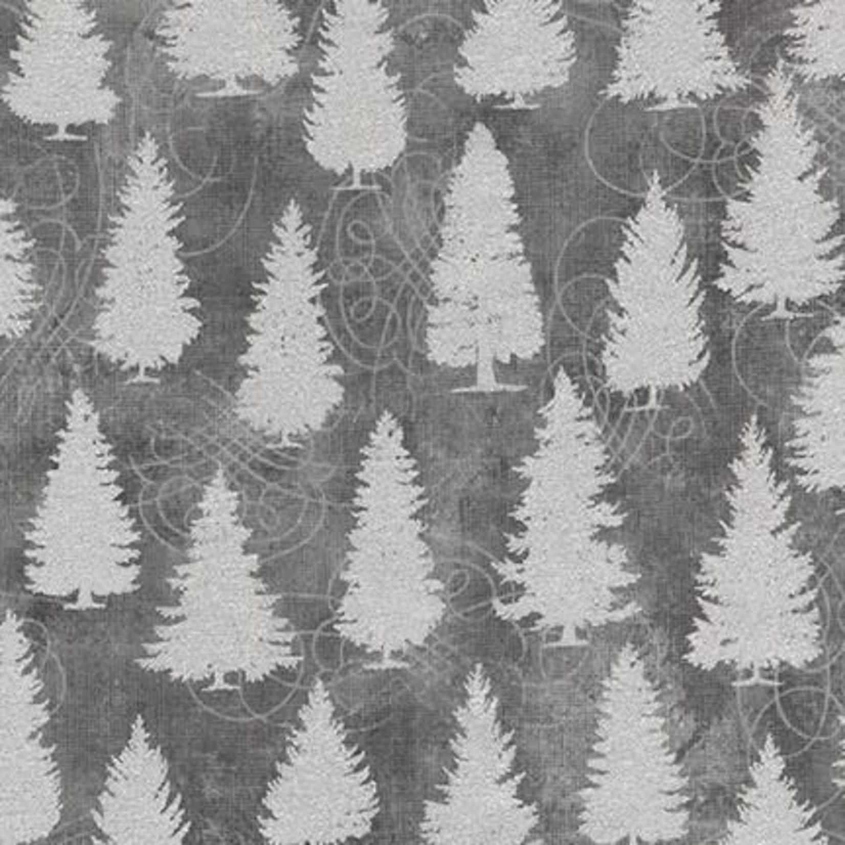 ROBERT KAUFMAN WINTER'S GRANDEUR 8, TREES, GREY $0.20 /CM OR $20/M