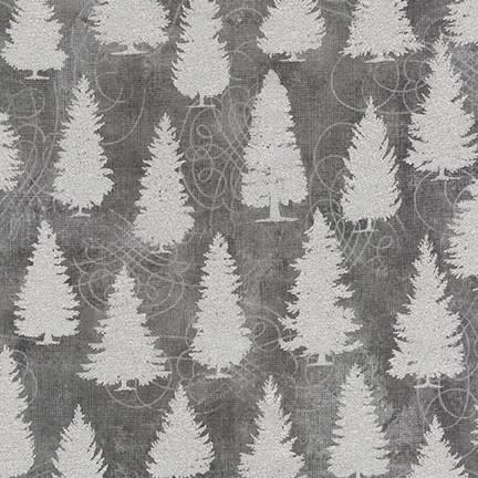 ROBERT KAUFMAN WINTER'S GRANDEUR 8, TREES, GREY $0.20 /CM OR $20/M