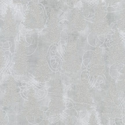 ROBERT KAUFMAN WINTER'S GRANDEUR 8, FILIGREE, SILVER $0.20 /CM OR $20/M