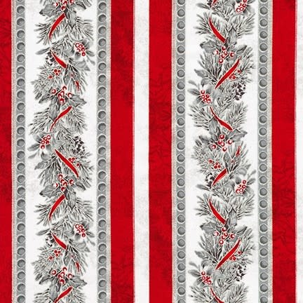ROBERT KAUFMAN WINTER'S GRANDEUR 8, GARLAND, SCARLET $0.20 /CM OR $20/M