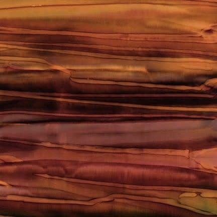 ROBERT KAUFMAN ARTISANS BATIKS, PATINA HAND PAINTS, RUSSET STRIPE per Cm or $20/m