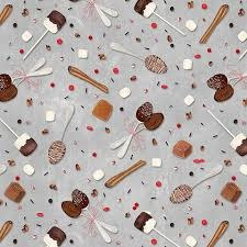 WILMINGTON PRINTS HOT COCOA BAR SPOONS ON GREY PER CM OR $20/M
