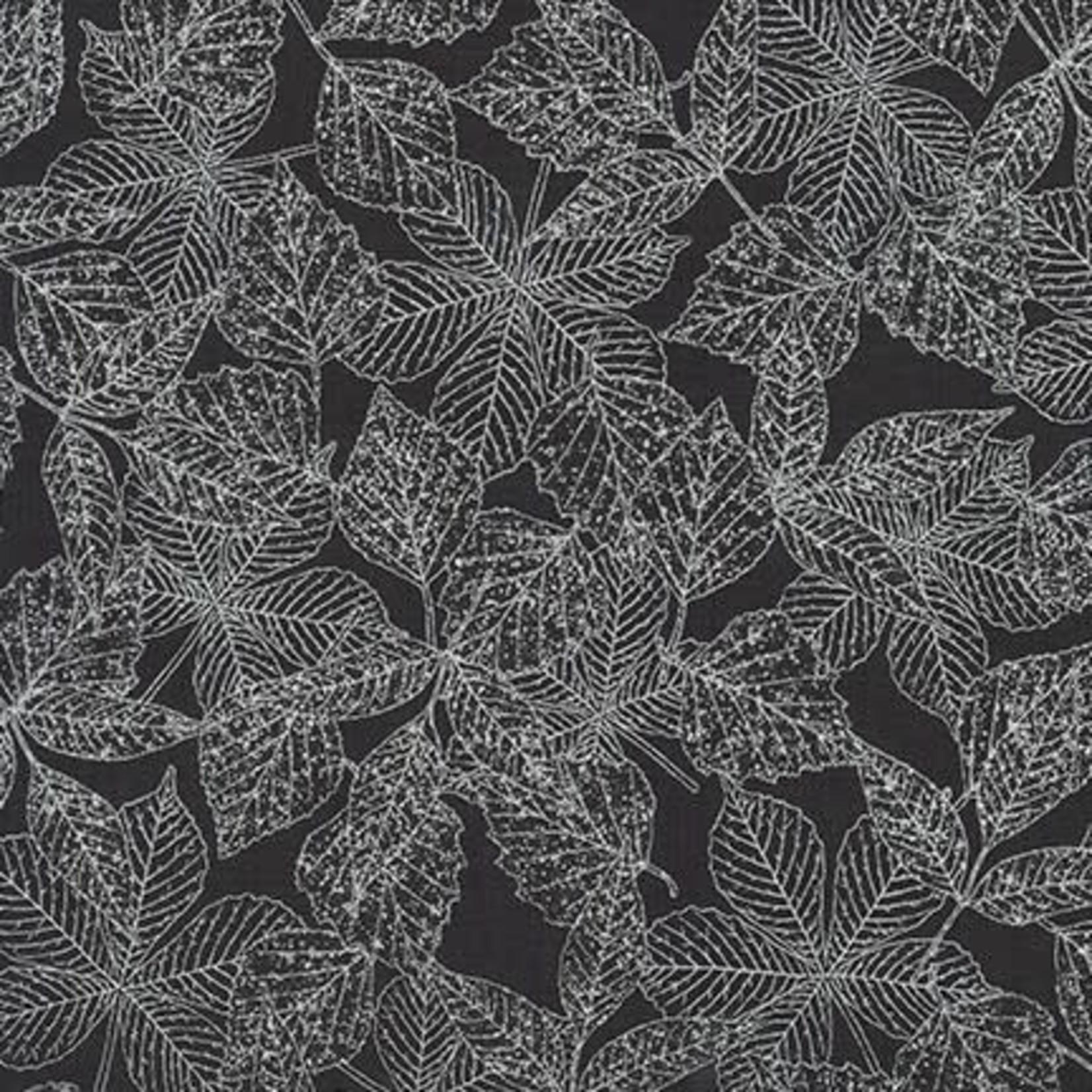 Robert Kaufman WILDWOOD GRACE, BLACK LEAVES (19323-2) $0.20/CM OR $20/M