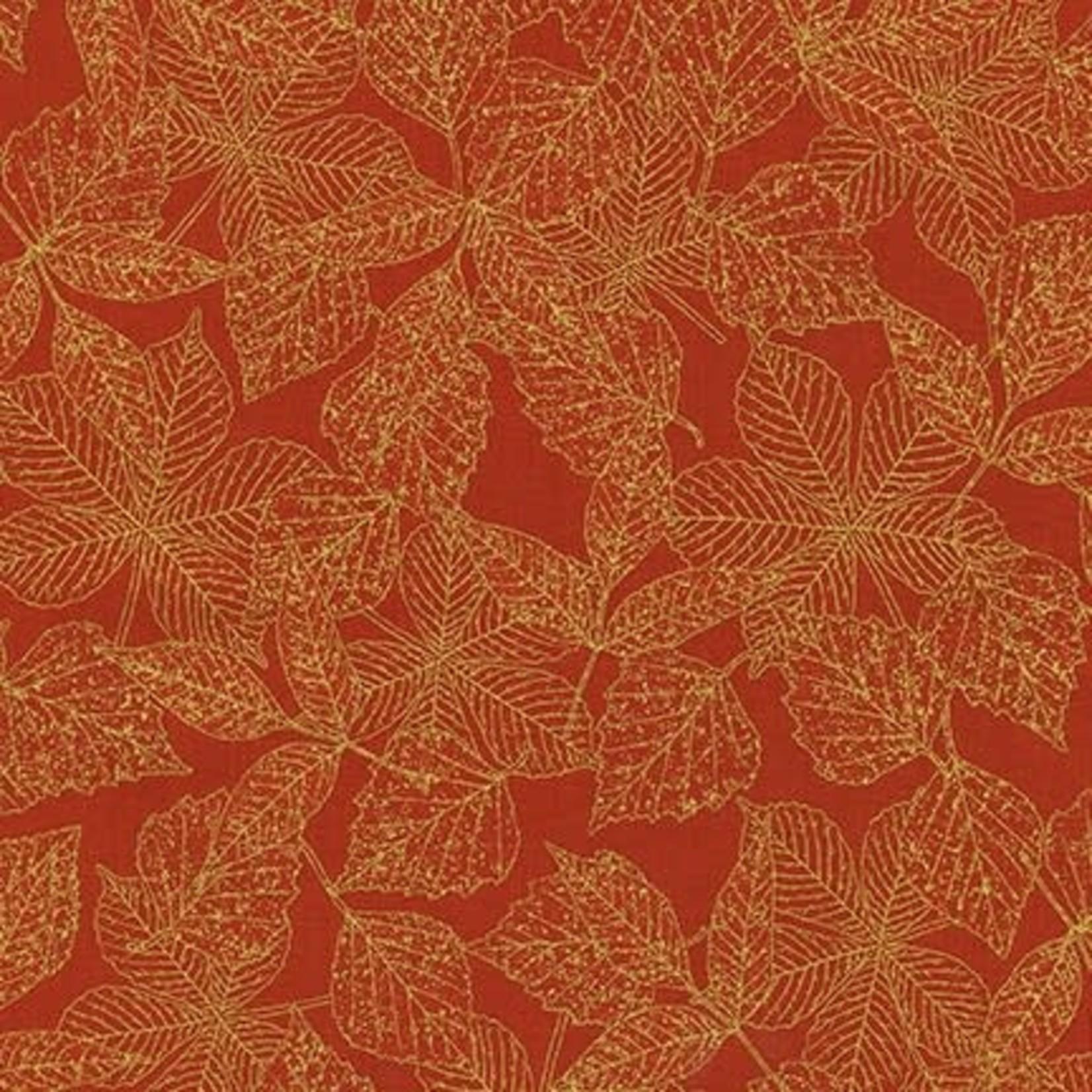 ROBERT KAUFMAN WILDWOOD GRACE, RED LEAVES (19323-163) $0.20/CM OR $20/M