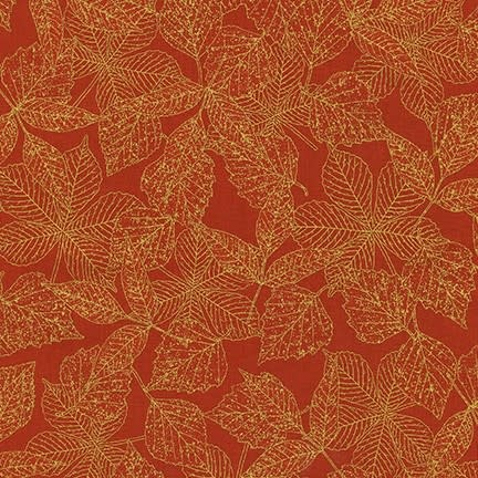ROBERT KAUFMAN WILDWOOD GRACE, RED LEAVES (19323-163) $0.20/CM OR $20/M