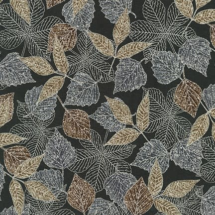 ROBERT KAUFMAN WILDWOOD GRACE, ONYX LEAVES (19323-181) $0.20/CM OR $20/M