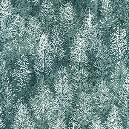 ROBERT KAUFMAN FIRST SNOW METALLIC, FOREST (19268-44) $0.20/CM OR $20/M