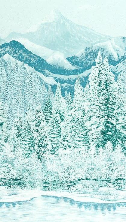 ROBERT KAUFMAN FIRST SNOW METALLIC, PINE (19267-274) $0.20/CM OR $20/M