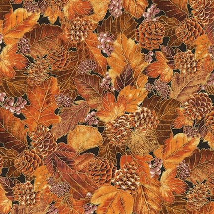 ROBERT KAUFMAN Autumn Beauties, LEAVES, SPICE (19319-163) $0.20/cm or $20/m