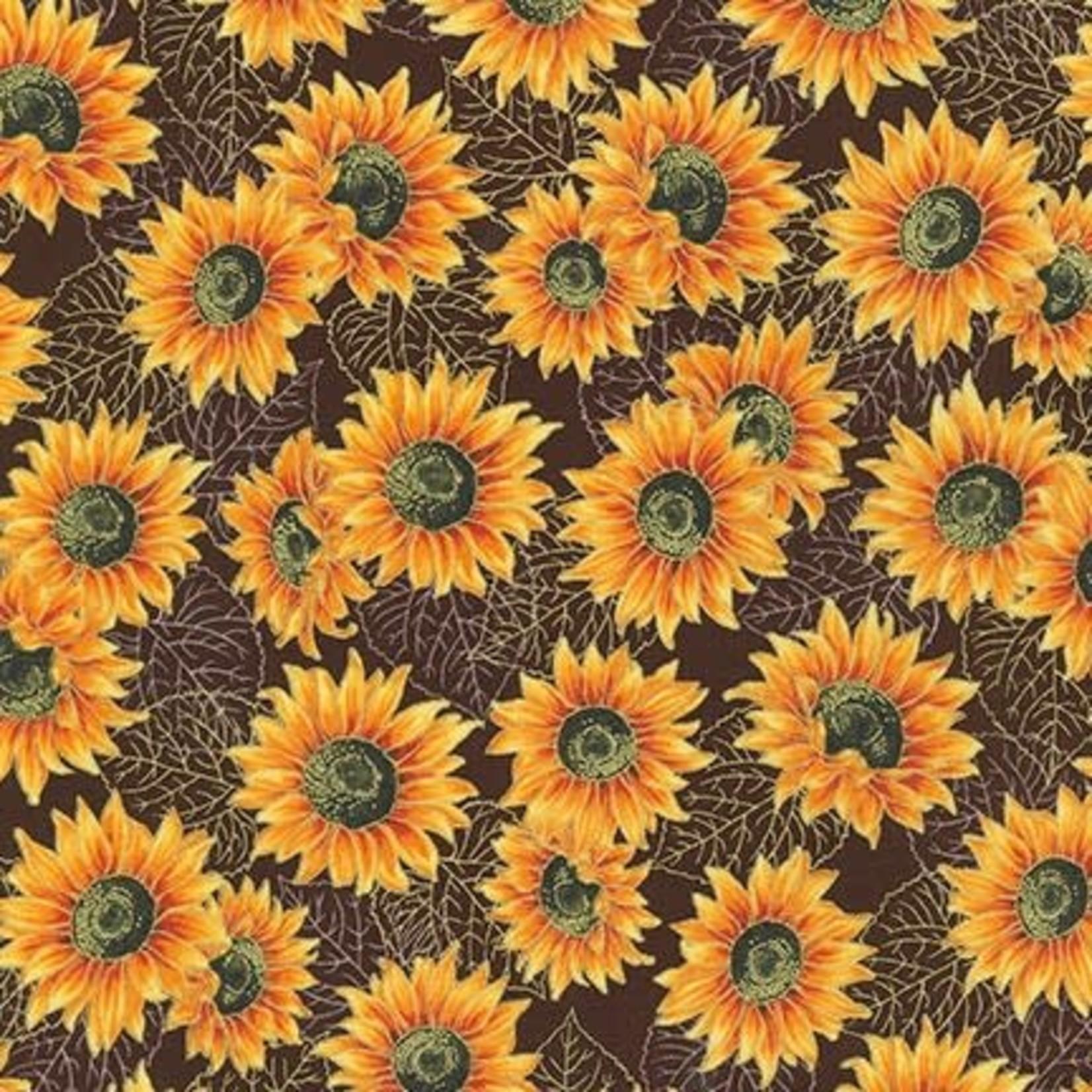 ROBERT KAUFMAN Autumn Beauties, SUNFLOWERS, BROWN (19320-16) $0.20/cm or $20/m