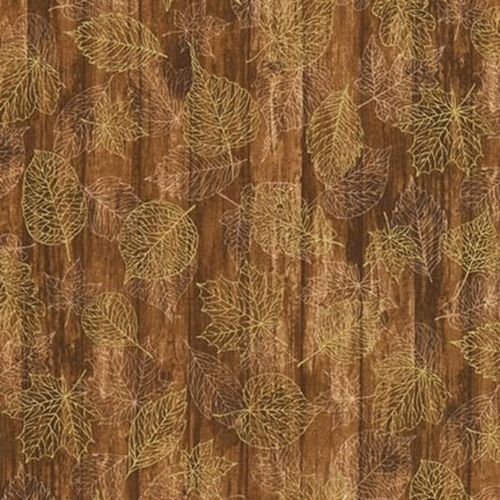 ROBERT KAUFMAN Autumn Beauties, LEAVES ON WOOD, REDWOOD(19315-222) $0.20/cm or $20/m
