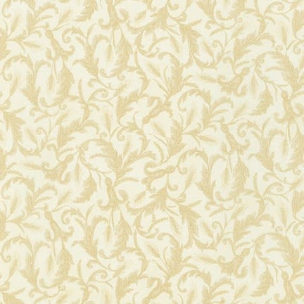 ROBERT KAUFMAN Autumn Beauties, WHEAT SCROLL, IVORY (19316-15) $0.20/cm or $20/m