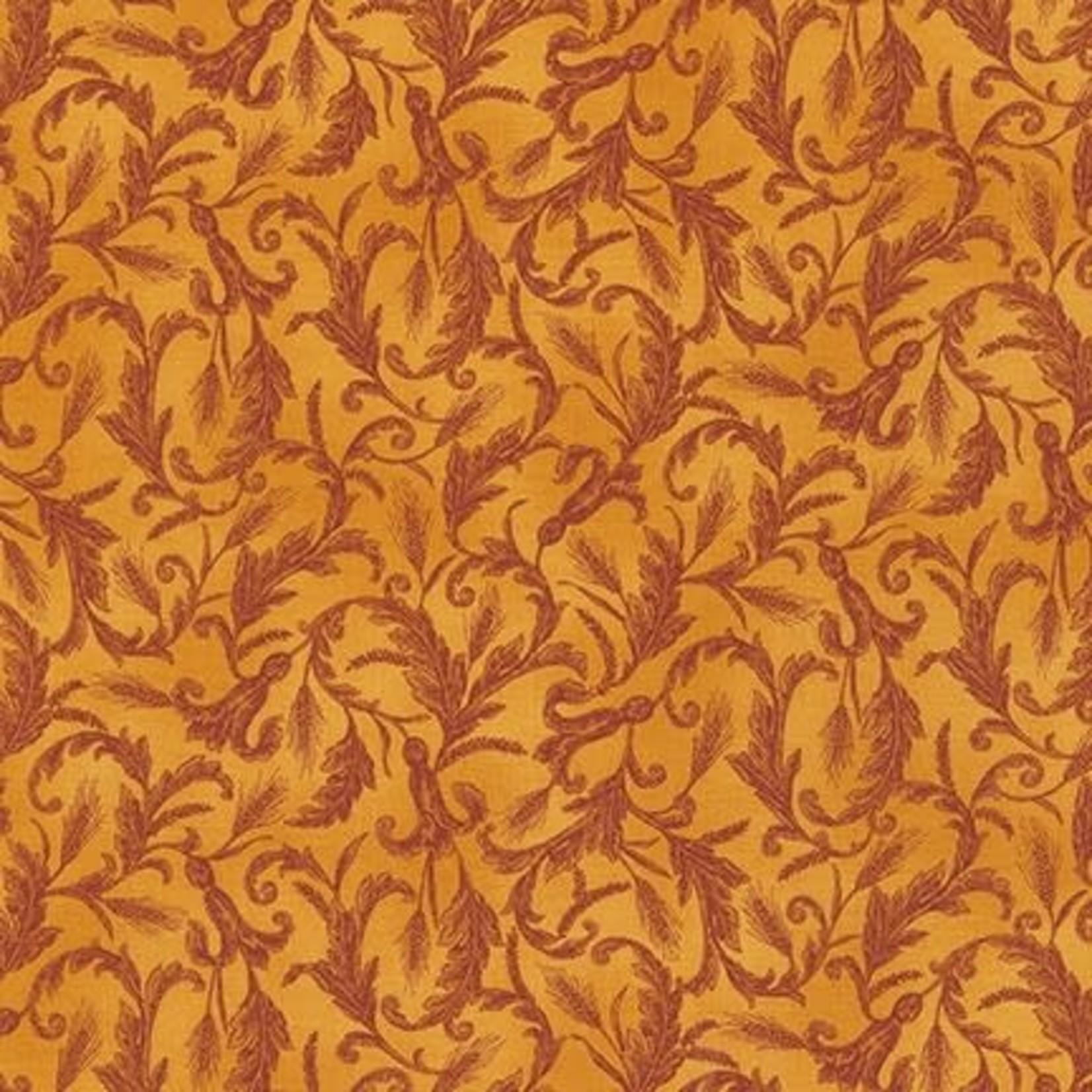 ROBERT KAUFMAN Autumn Beauties, WHEAT SCROLL, SPICE (19316-163) $0.20/cm or $20/m
