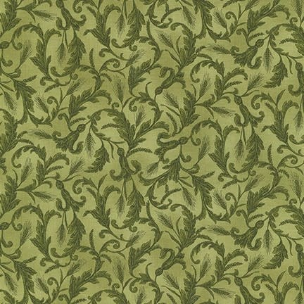 ROBERT KAUFMAN Autumn Beauties, WHEAT SCROLL, GREEN (19316-7) $0.20/cm or $20/m