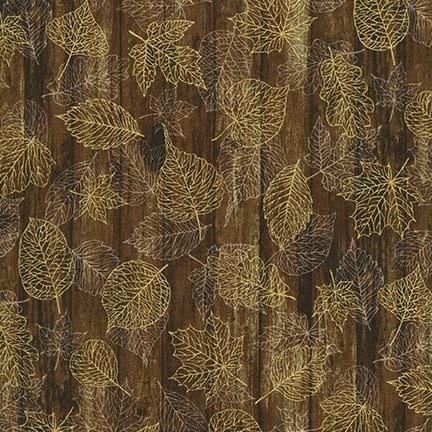 ROBERT KAUFMAN Autumn Beauties, LEAVES ON WOOD, NUTMEG (19318-175) $0.20/cm or $20/m