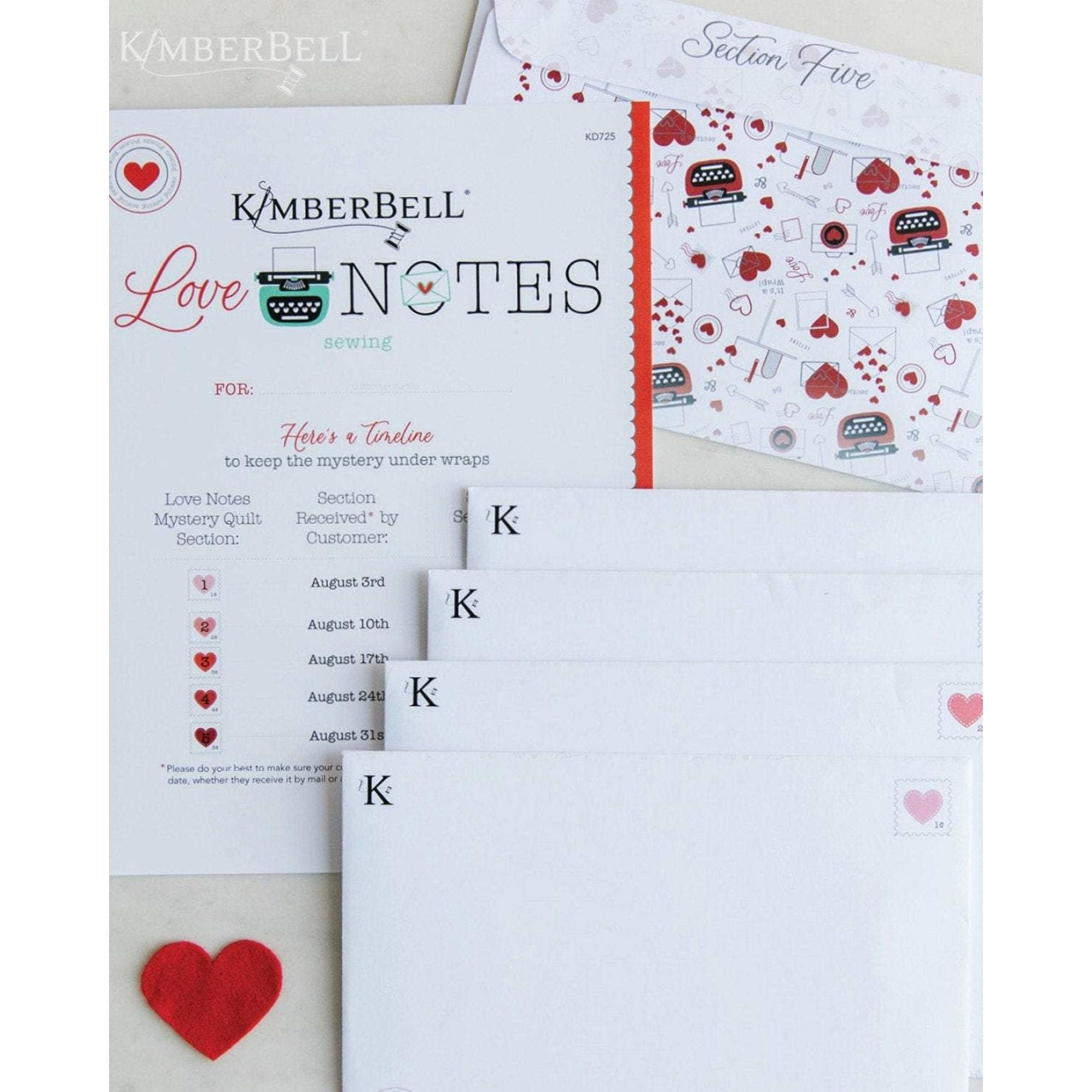KIMBERBELL DESIGNS Love Notes Mystery Quilt - Sewing Balance