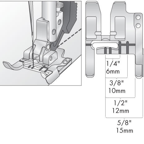 """PFAFF 5/8"""" SEAM/GUIDE FOOT FOR IDT"""