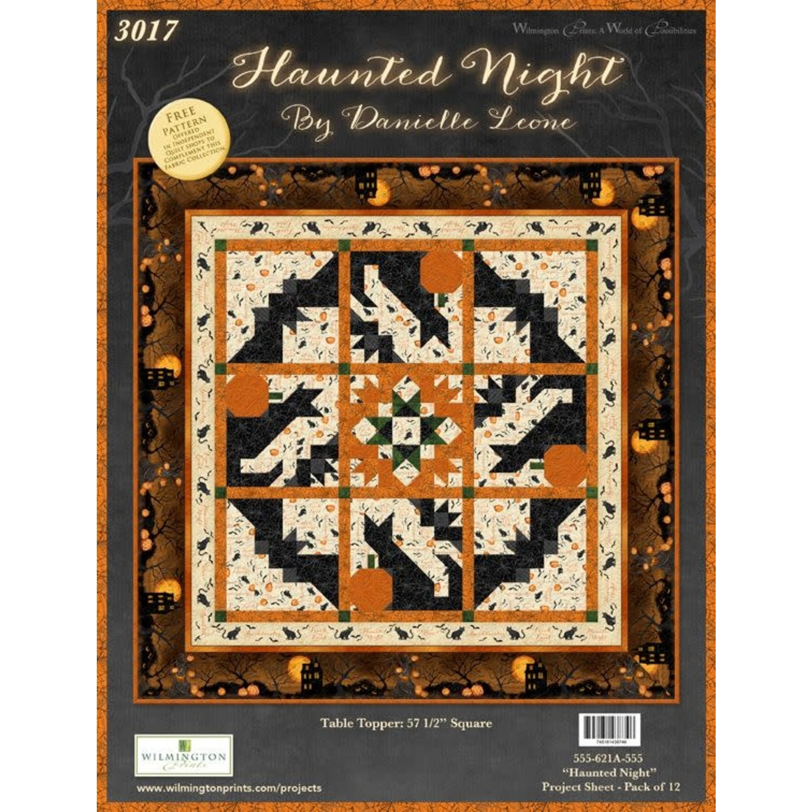 Wilmington Prints HAUNTED NIGHT TABLE TOPPER KIT (BACKING NOT INCLUDED)