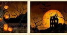 WILMINGTON PRINTS HAUNTED NIGHT PLACEMAT PANEL (2 mats only)