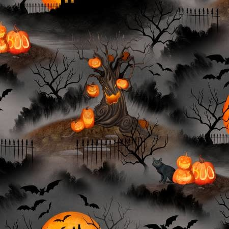 WILMINGTON PRINTS HAUNTED NIGHT SCENE ON BLACK PER CM OR $20/M