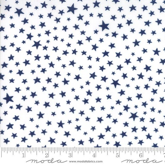 MODA MODAFICATION, BLACK STARS ON WHITE PER CM OR $20/M