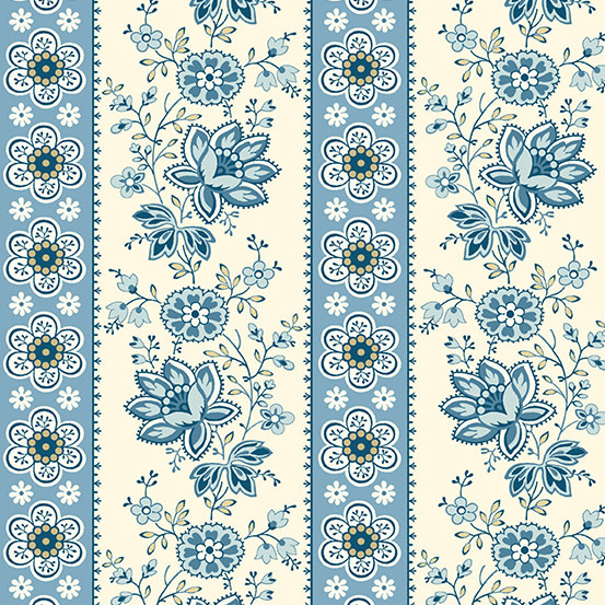 ANDOVER PERFECT UNION, FLORAL STRIPE, BLUE BELL (A-9578-B) PER CM or $20/m