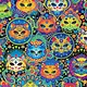 TIMELESS TREASURES SUGAR SKULLS, BRIGHT CAT (C7817-MUL) PER CM OR $20/M