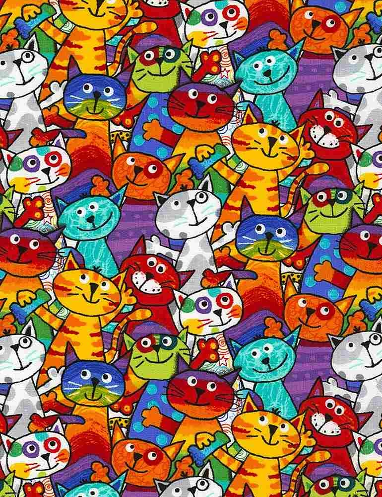 TIMELESS TREASURES POP CATS, STACKED CATS (C6341-MUL) PER CM OR $20/M
