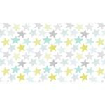 Dear Stella STARS, YELLOW/GREY/TEAL (K1152-WHT) PER CM OR $30/M
