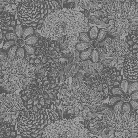 "FLORAL TOILE LIGHT GREY 108"", PER CM OR $30/M"